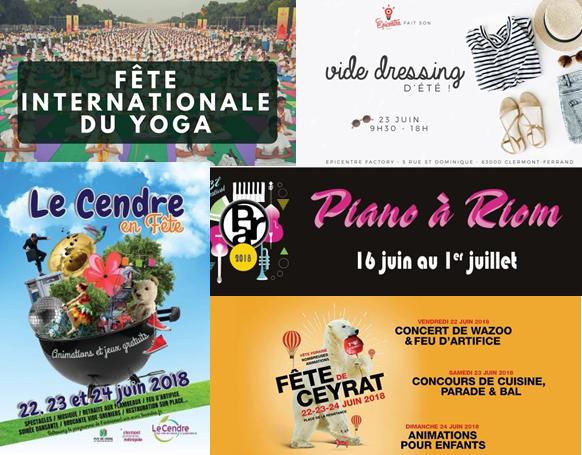 visuel de différentes activités.agenda du week-end du 22 au 24 juin près de Clermont-Fd