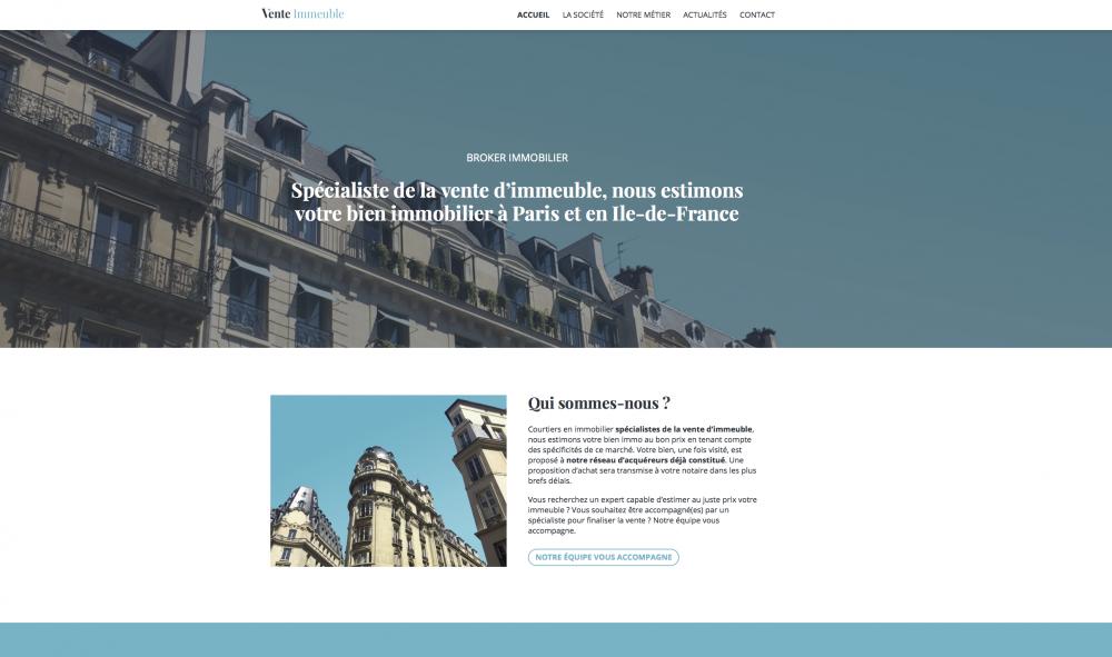 image du site internet vente immeuble paris