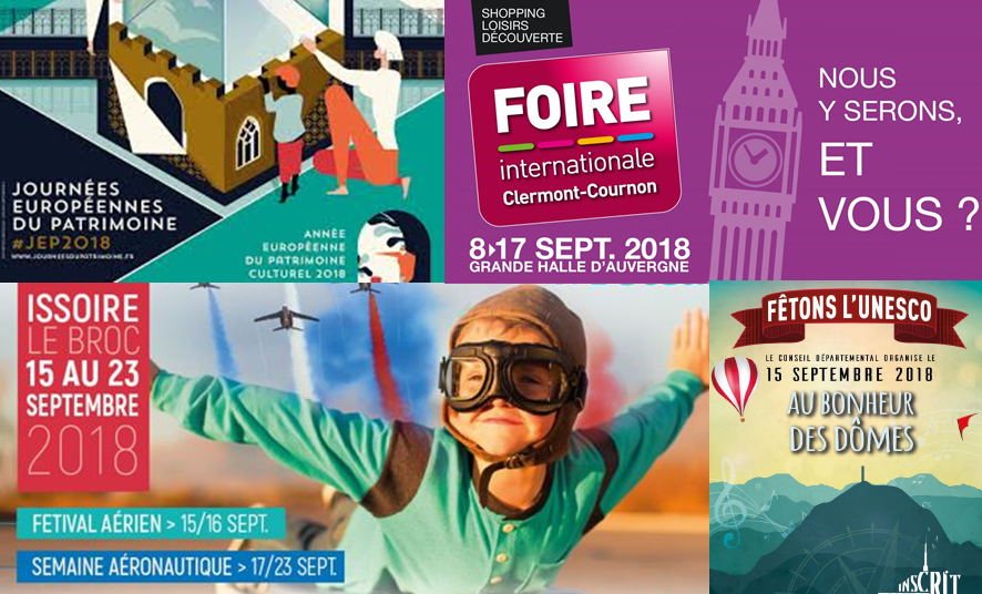 affiche des choses à faire à Clermont le week-end du 14 au 16 septmebre 2018