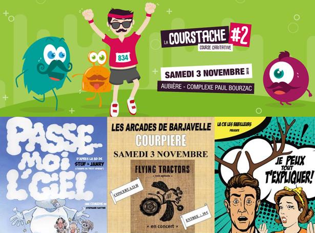 visuel des sorties de l'agenda du week-end du 2 au 4 novembre à Clermont